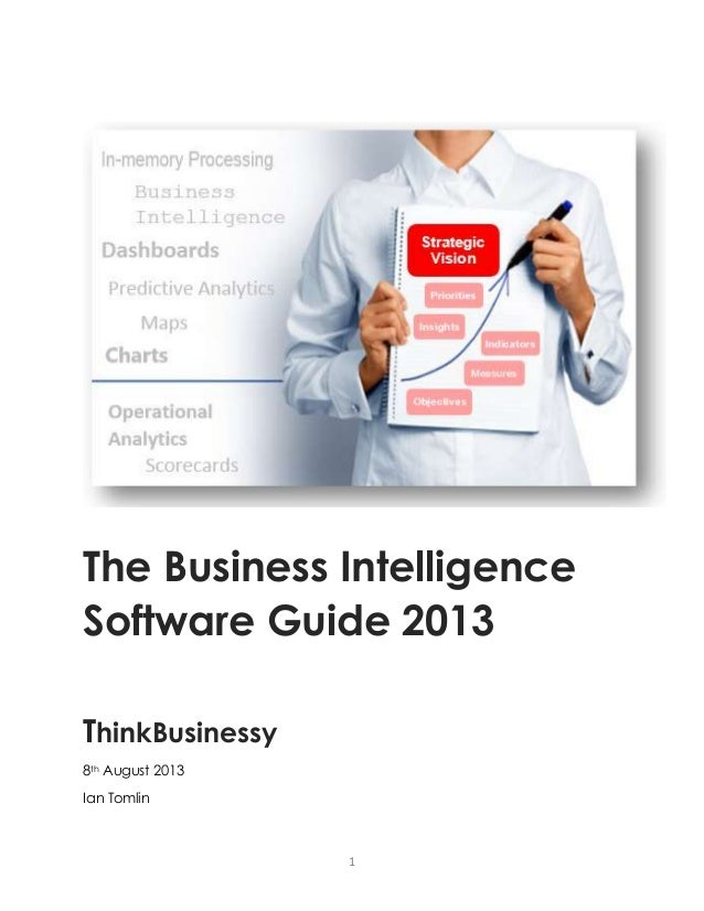 1 The Business Intelligence Software Guide 2013 ThinkBusinessy 8th August 2013 Ian Tomlin