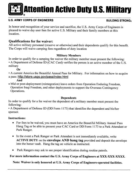 U.S. Army Corps of Engineers Free Camping and Free Day Use for Active Duty Soldiers