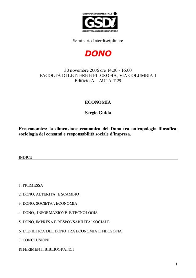 Seminario Interdisciplinare                               DONO                  30 novembre 2006 ore 14.00 - 16.00        ...
