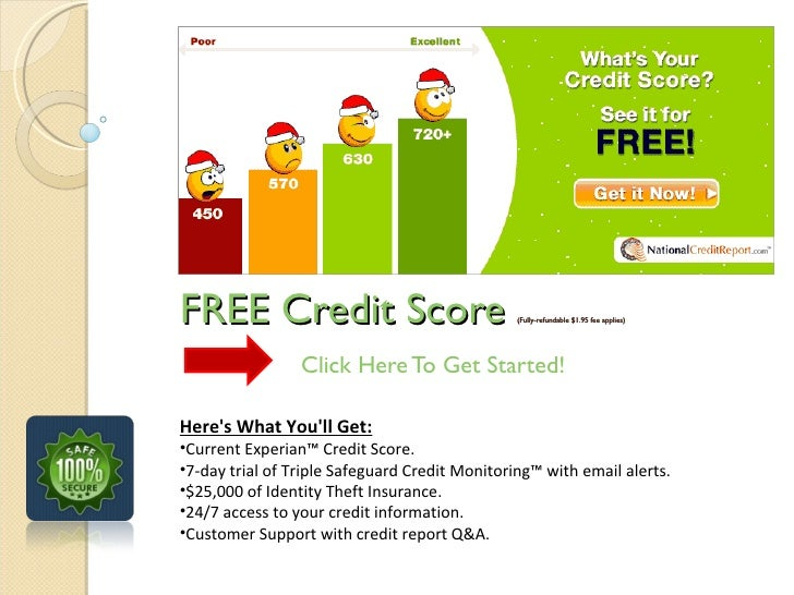 FREE Credit Score  (Fully-refundable $1.95 fee applies) Click Here To Get Started! <ul><li>Here's What You'll Get: </li></...
