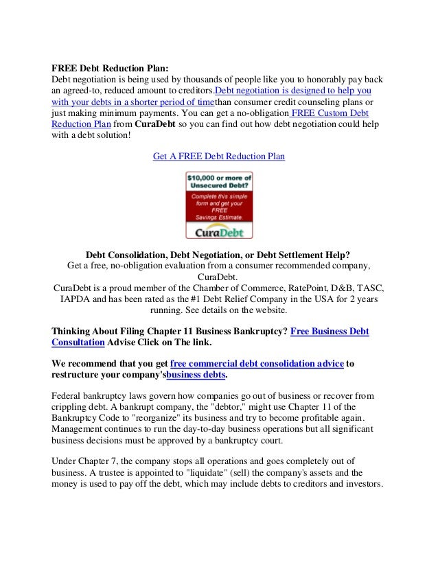 Free debt reduction plan