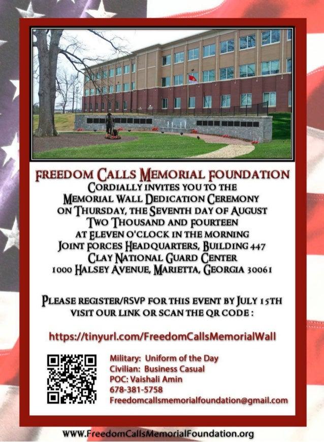 Freedom Calls Memorial Wall Dedication Ceremony