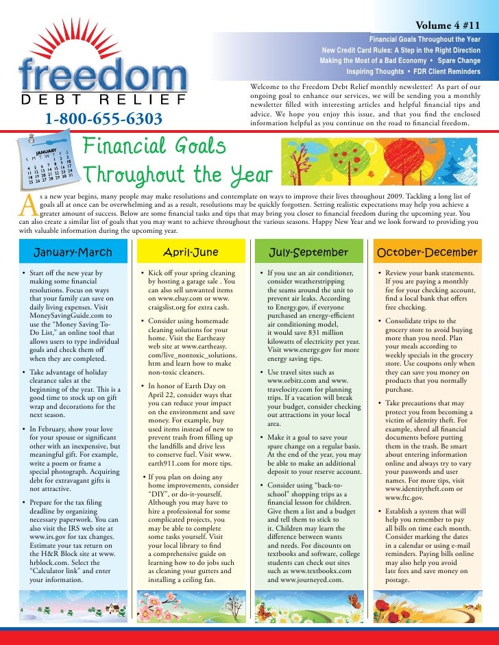 Freedom Debt Relief - Financial Goals Throughout the Year