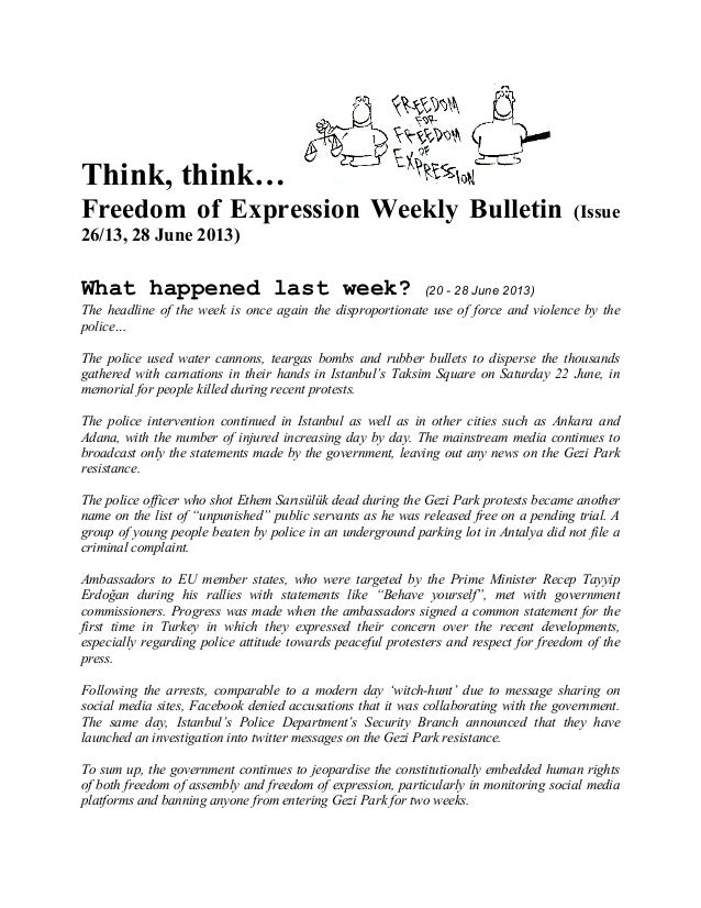 Think, think… Freedom of Expression Weekly Bulletin (Issue 26/13, 28 June 2013) What happened last week? (20 - 28 June 201...