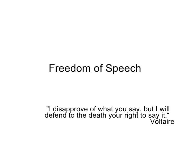"""Freedom of Speech """"I disapprove of what you say, but I will defend to the death your right to say it.""""  Voltaire"""