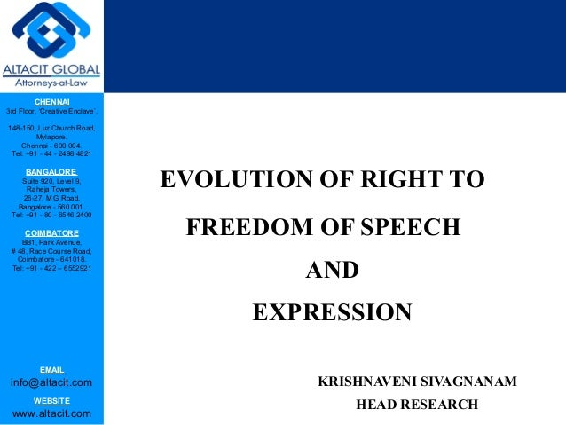 Evolution of right to freedom of speech and expression