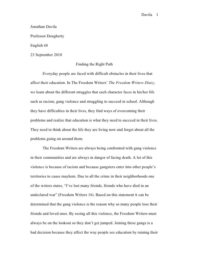Freedom writers essay quotes