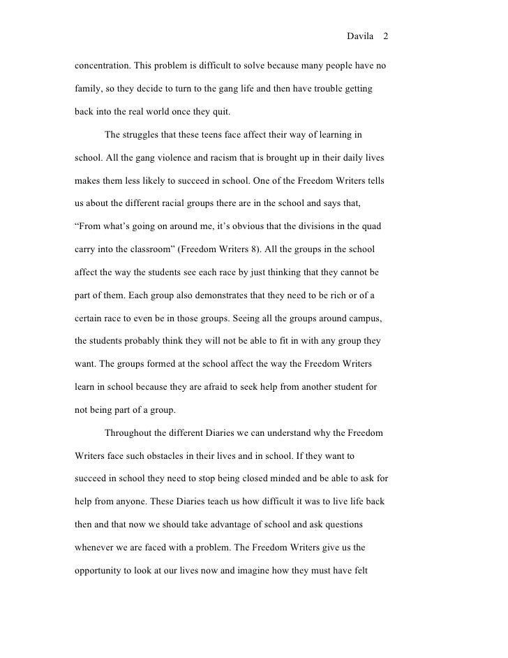 The Freedom Writers Diary -Reaction essays