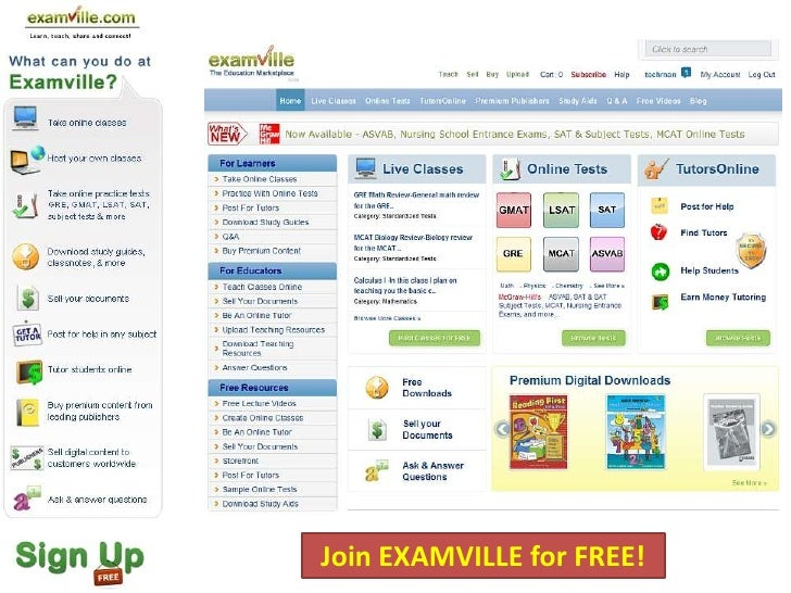 Join EXAMVILLE for FREE!
