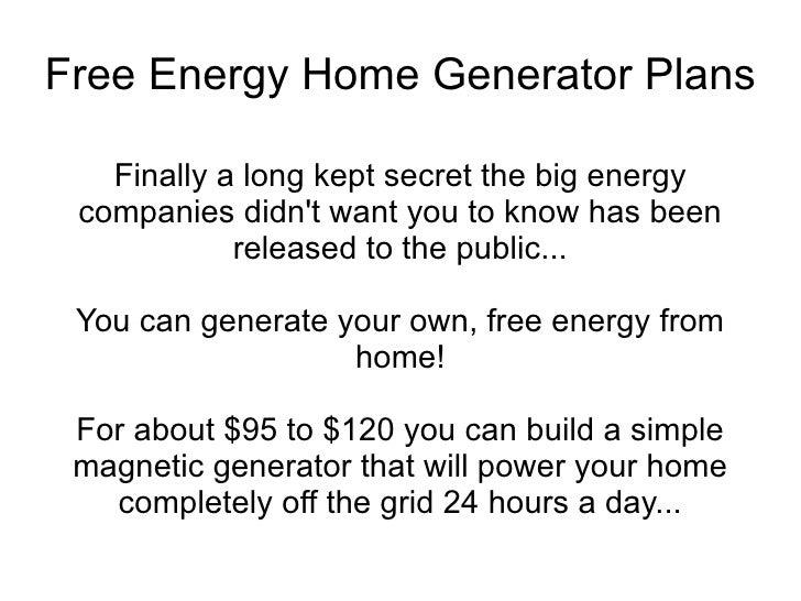 Free Energy Home Generator Plans