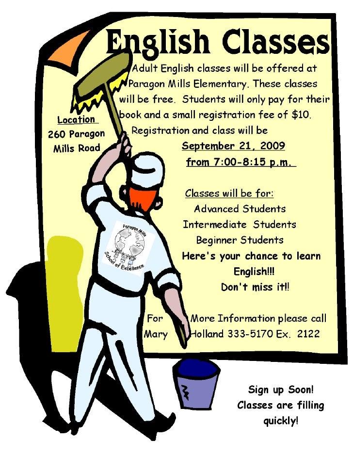 Free English Classes At Paragon Mills  Fall 2009