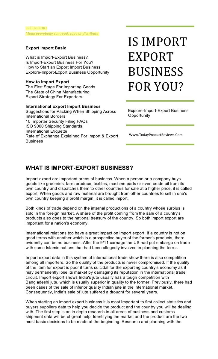FREE REPORT Mean everybody can read, copy or distribute   Export Import Basic                                             ...