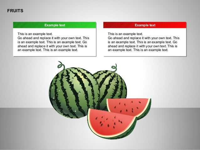 ё FRUITS This is an example text. Go ahead and replace it with your own text. This is an example text. This is an example ...