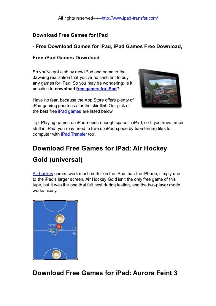 Free games for ipad