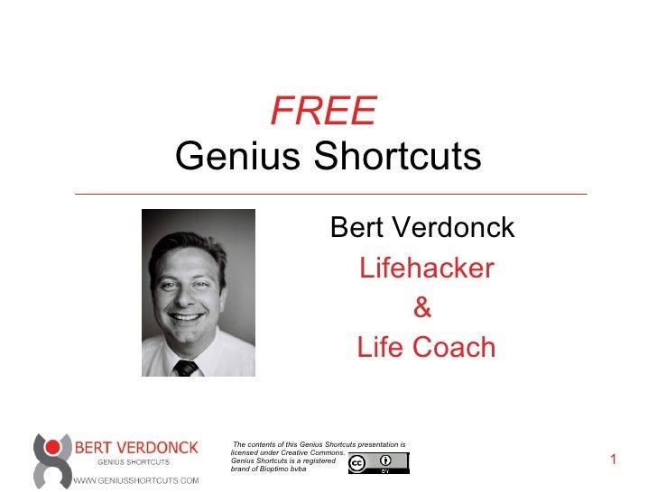 FREE   Genius Shortcuts Bert Verdonck   Lifehacker &  Life Coach