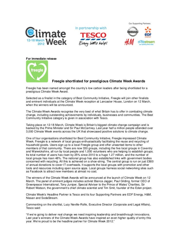 For immediate release                     Freegle shortlisted for prestigious Climate Week AwardsFreegle has been named am...
