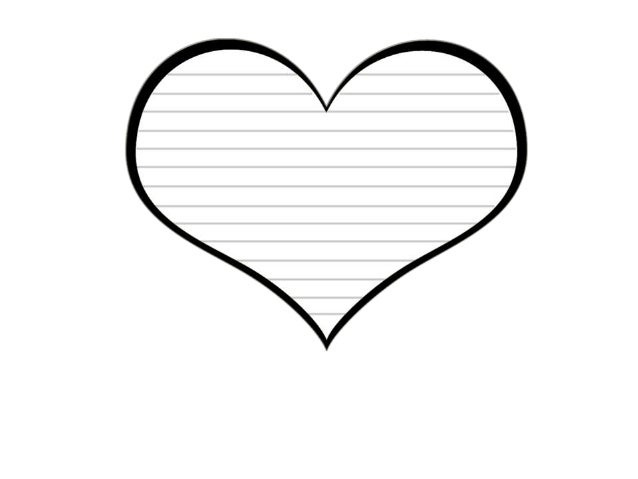 Free Heart Template With Text Boxes Lines And Black Border