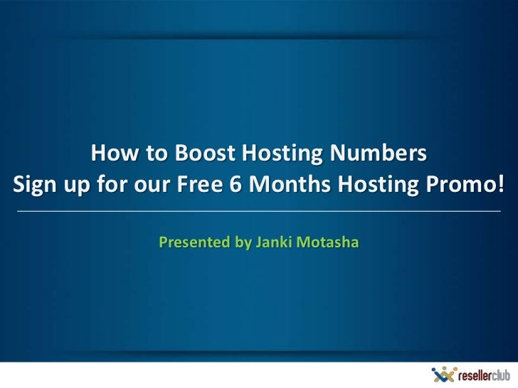 Webinar: Offer Free 6 Months Hosting with .COM & .NET Domains