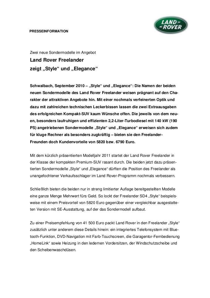 """PRESSEINFORMATIONZwei neue Sondermodelle im AngebotLand Rover Freelanderzeigt """"Style"""" und """"Elegance""""Schwalbach, September ..."""