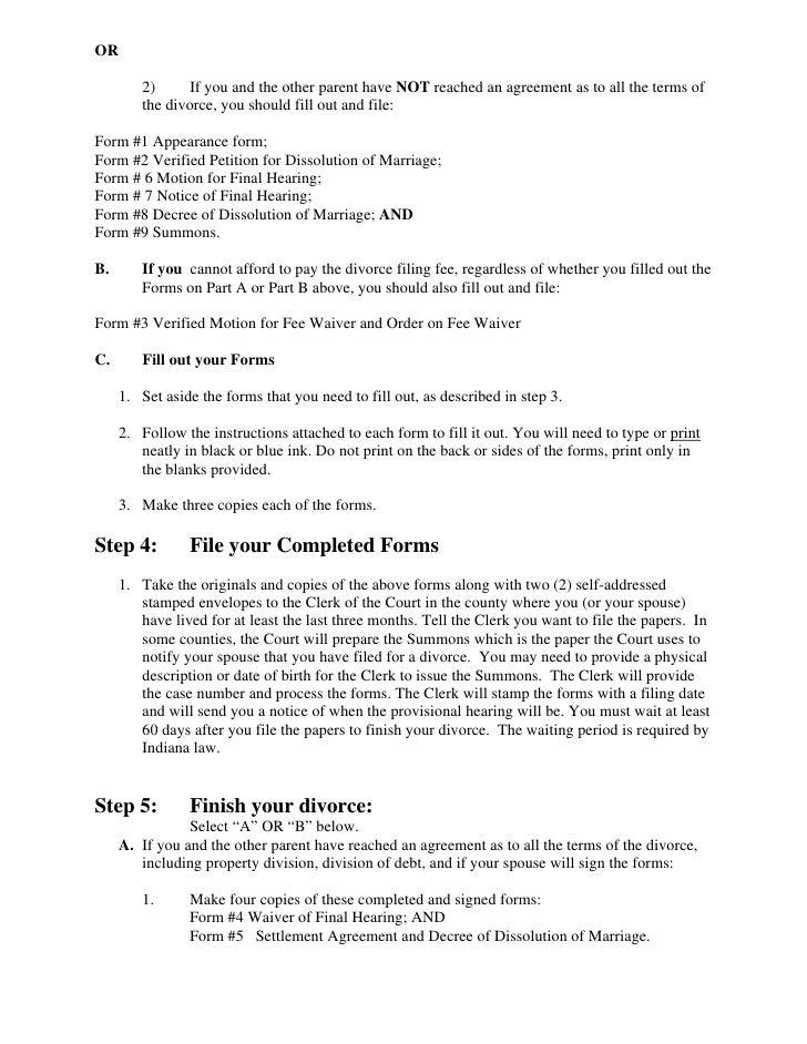 Divorce paper sample