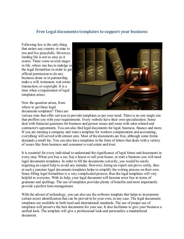 Free legal documents templates to support your business for Legal business documents free