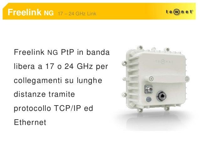 Freelink NG 17 – 24 GHz Link Freelink NG PtP in banda libera a 17 o 24 GHz per collegamenti su lunghe distanze tramite pro...