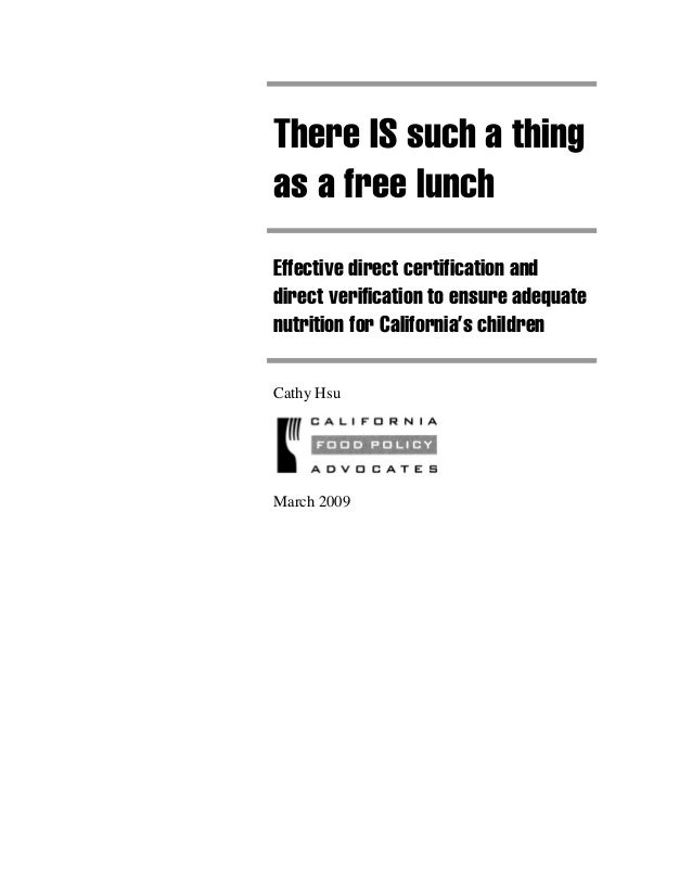 Policy Paper: Direct Certification and Verification in CA School Meals
