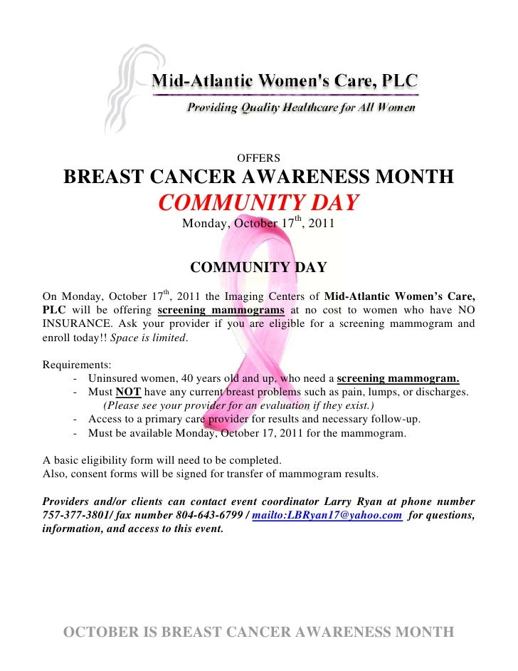 OFFERS    BREAST CANCER AWARENESS MONTH                       COMMUNITY DAY                            Monday, October 17t...