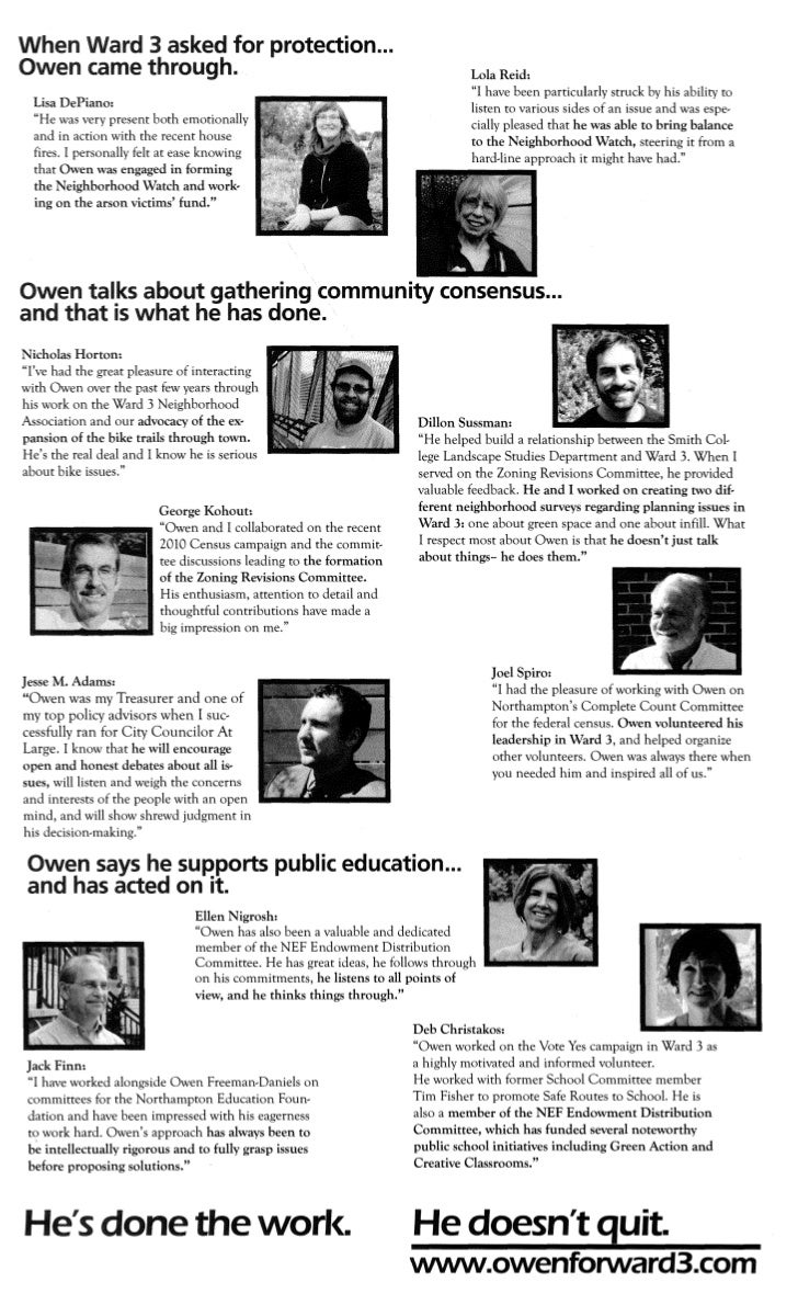 Owen Freeman-Daniels Campaign Brochure - July 2011 #2