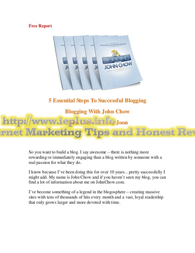 Free Report           5 Essential Steps To Successful Blogging                    Blogging With John Chow                 ...