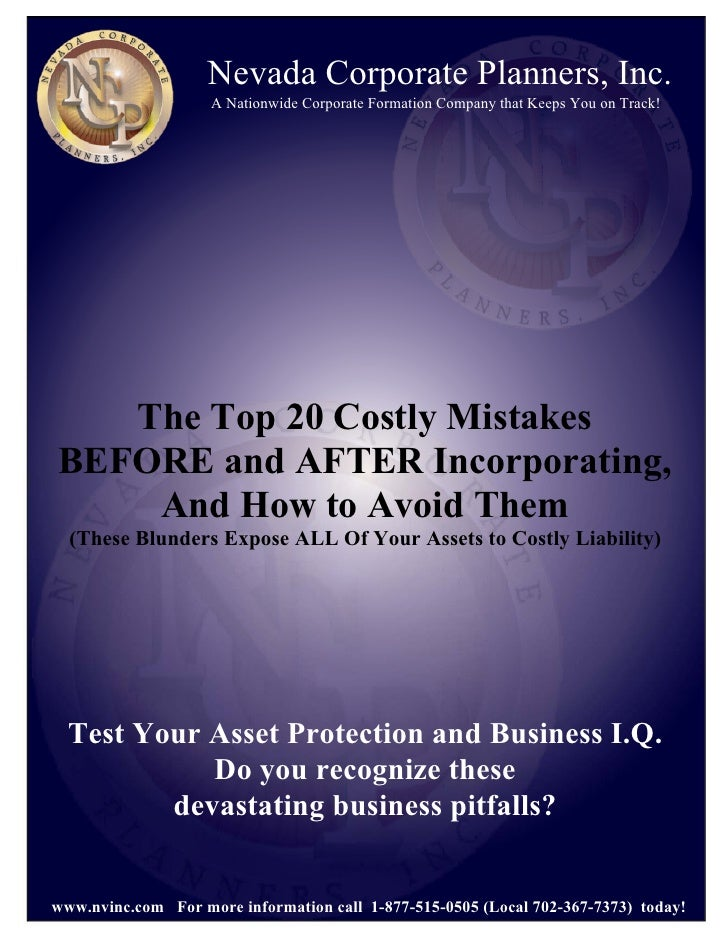 Free Report Top 20 Costly Mistakes