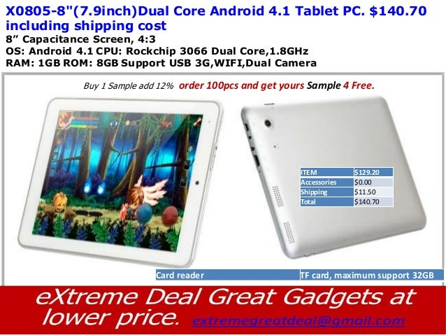"""X0805-8""""(7.9inch)Dual Core Android 4.1 Tablet PC. $140.70including shipping cost8"""" Capacitance Screen, 4:3OS: Android 4.1 ..."""