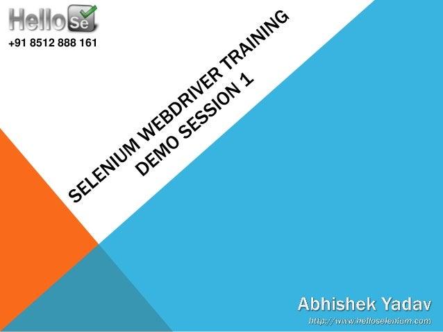 Selenium WebDriver Training - Demo Session 1