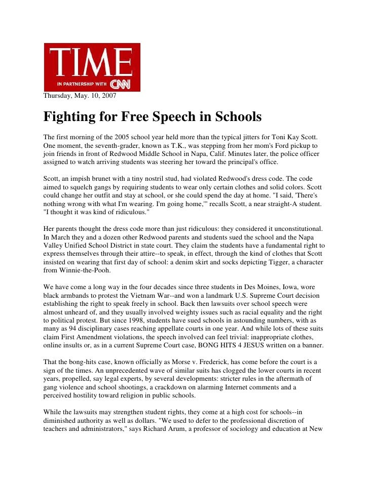 Free speech in schools   Article from Time Magazine