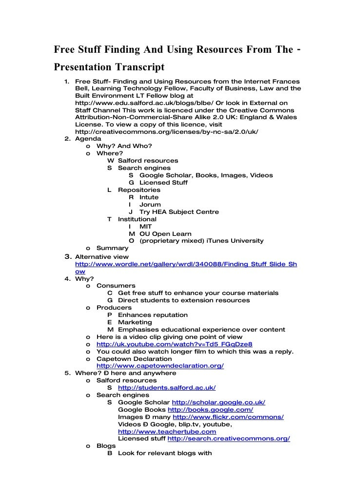 Free Stuff Finding And Using Resources From The - Presentation Transcript   1. Free Stuff- Finding and Using Resources fro...
