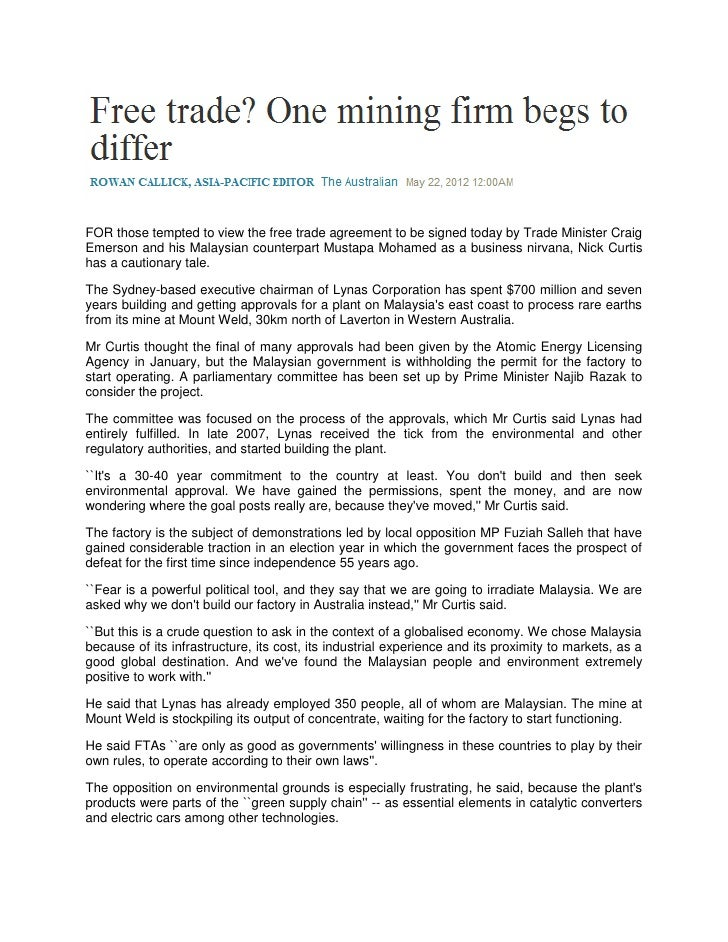Free trade? One mining firm begs to differ  (The Australian, 22 May 2012)