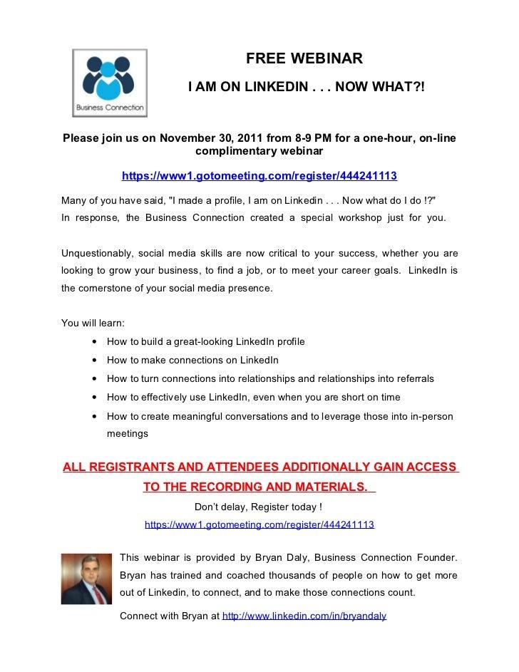 Business Connection Webinar Announcement