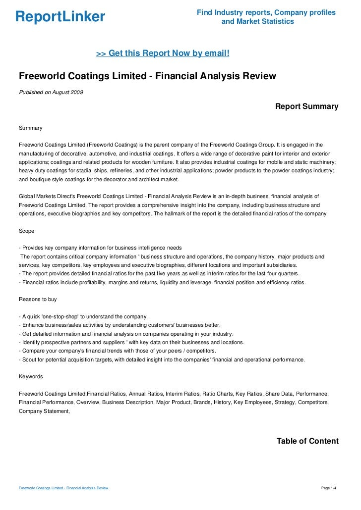 Freeworld Coatings Limited - Financial Analysis Review