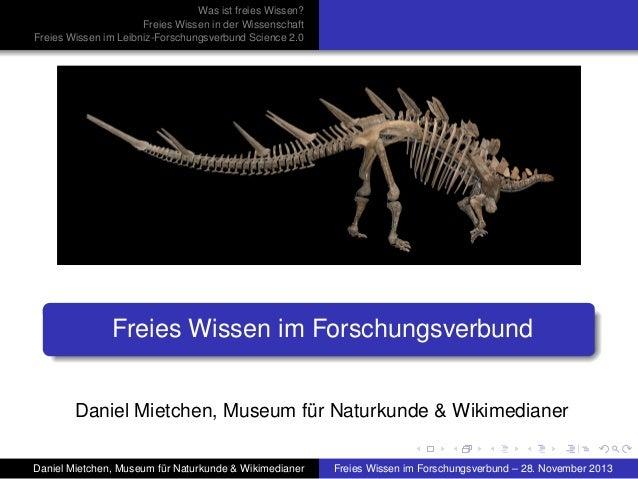 Freies Wissen im Forschungsverbund Science 2.0 der Leibniz-Gemeinschaft