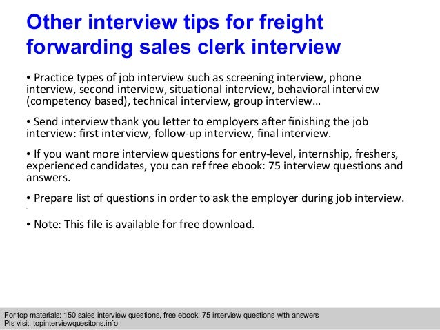 Freight forwarding sales clerk questions and answers ... 10.
