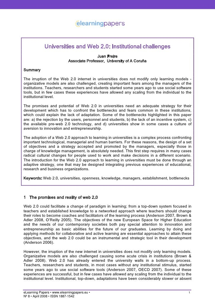 Universities and Web 2.0: Institutional challenges                                             Juan Freire                ...