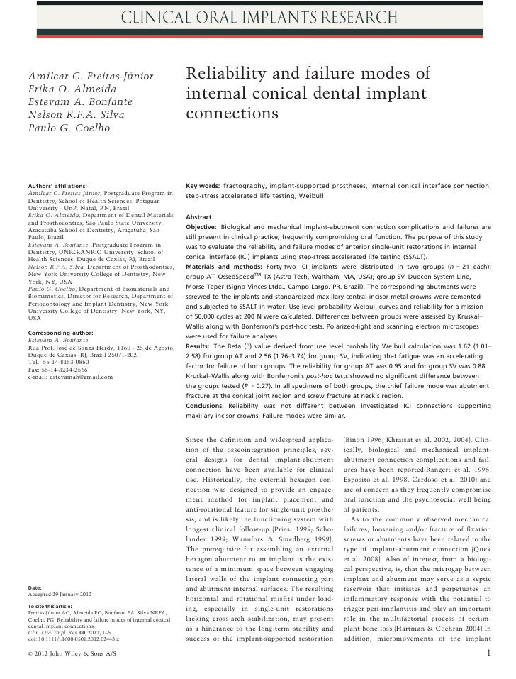Reliability and failure modes of internal conical dental implant connections Freitas jr et al. vs astra