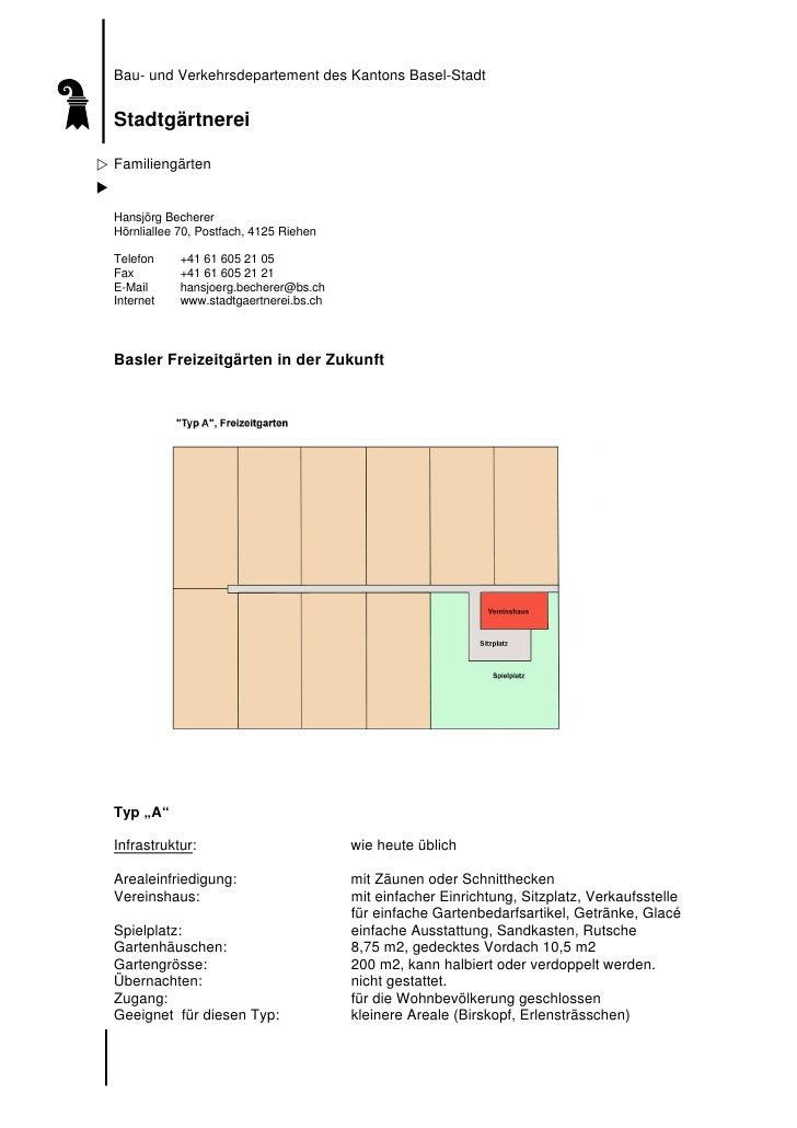 Bau- und Verkehrsdepartement des Kantons Basel-Stadt   Stadtgärtnerei  Familiengärten   Hansjörg Becherer Hörnliallee 70, ...