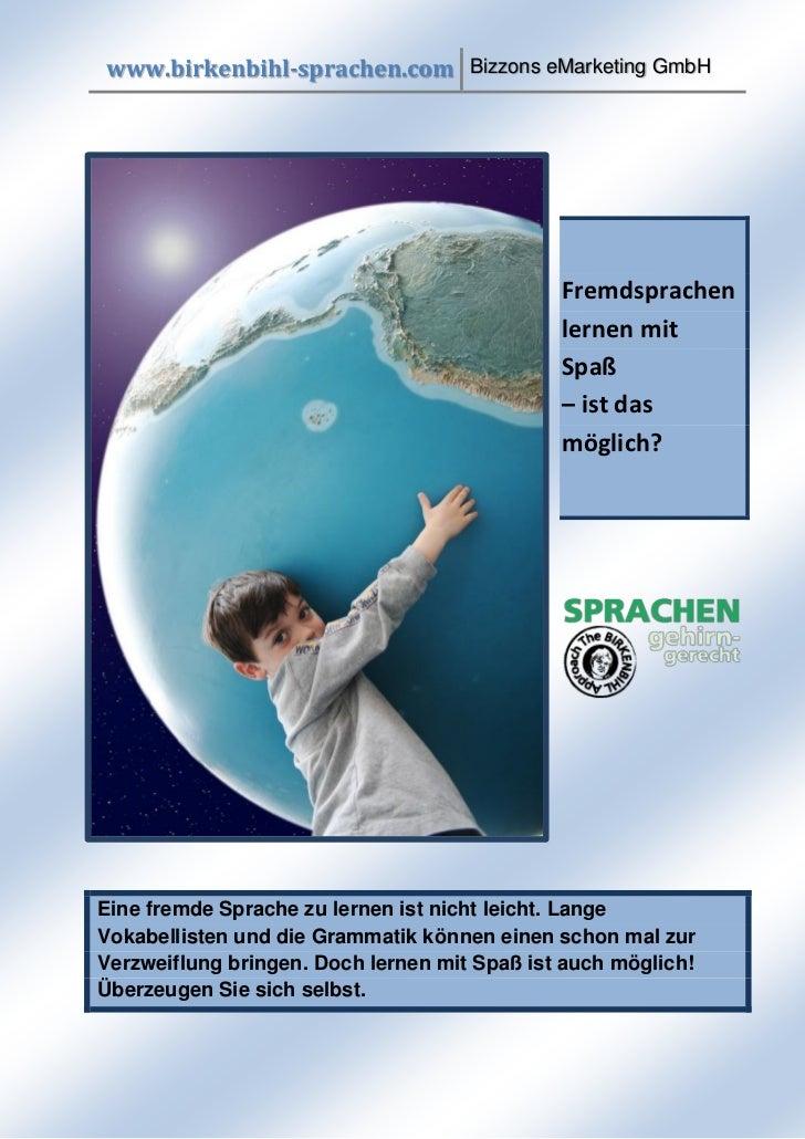 www.birkenbihl-sprachen.com Bizzons eMarketing GmbH                                              Fremdsprachen            ...