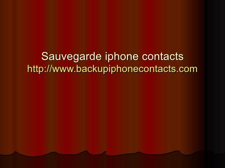 Sauvegarde iphone contacts
