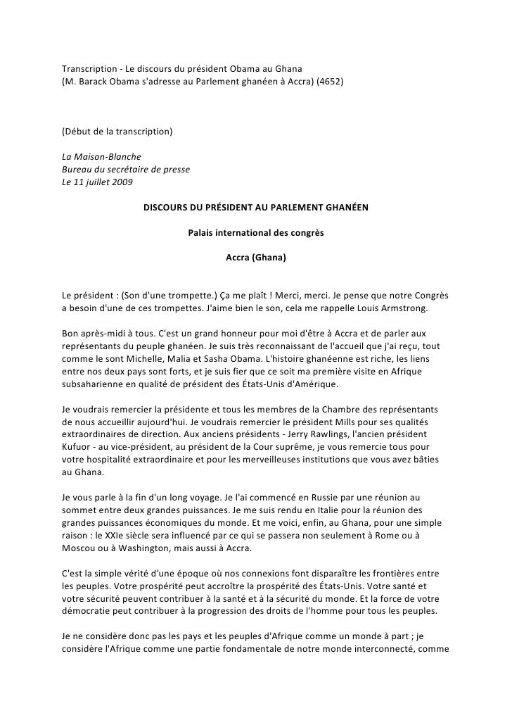 Transcription - Le discours du président Obama au Ghana (M. Barack Obama s'adresse au Parlement ghanéen à Accra) (4652)   ...