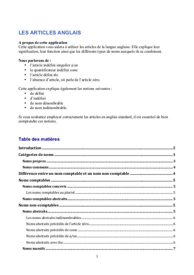 LES ARTICLES ANGLAIS  A propos de cette application  Cette application vous aidera à utiliser les articles de la langue an...