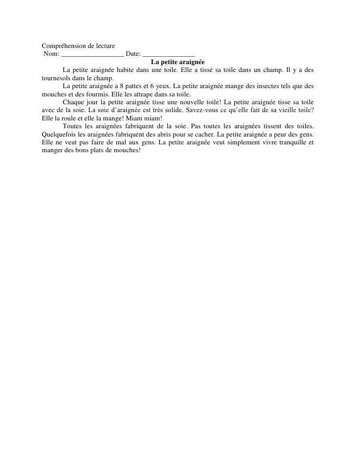 French Compréhension De Lecture