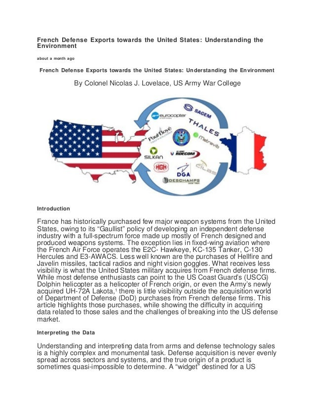 French Defense Exports towards the United States: Understanding the Environment about a month ago French Defense Exports t...