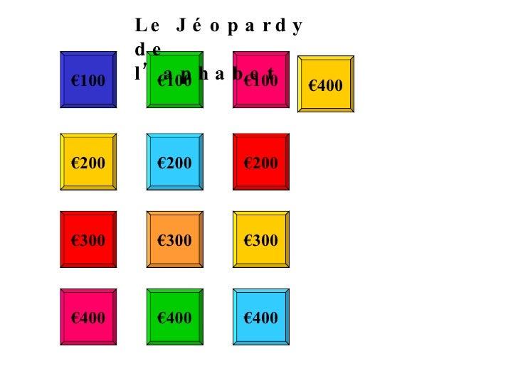 € 100 € 100 € 100 € 200 € 200 € 200 € 300 € 300 € 300 € 400 € 400 € 400 € 400 Le Jéopardy de l'aphabet